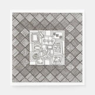 Motif géométrique de griffonnage de Mélange-Résumé Serviette En Papier