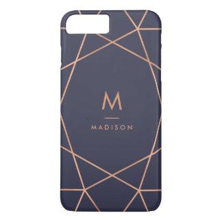 Motif géométrique de minuit d'or rose de bleu et coque iPhone 7 plus