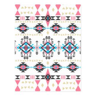 Motif géométrique de Navajo ethnique tribal Carte Postale