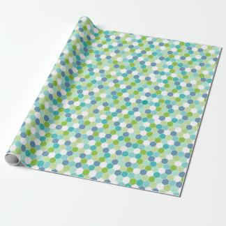 Motif géométrique de nid d'abeilles de bleus papier cadeau
