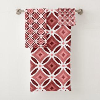 Motif géométrique de rose et blanc