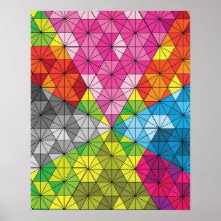Motif géométrique de triangle colorée posters