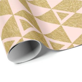 Motif géométrique de triangle de feuille d'or de papiers cadeaux