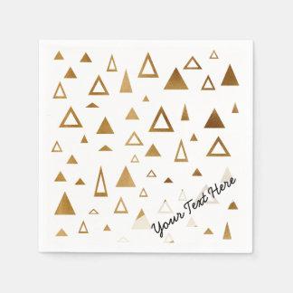 motif géométrique de triangles de feuille d'or serviettes en papier