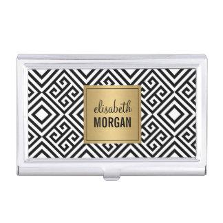 Motif géométrique d'or de noir d'abrégé sur de porte-cartes de visite