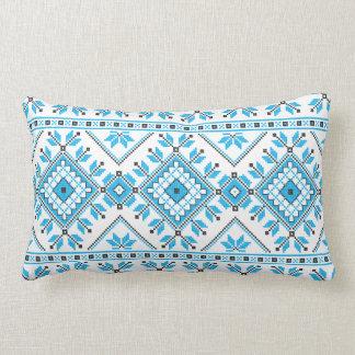Motif géométrique ethnique tribal aztèque bleu coussin décoratif