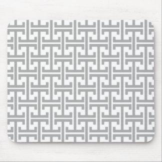 Motif géométrique gris-clair et blanc tapis de souris