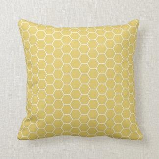 Motif géométrique jaune d'hexagone de nid d'abeill coussin
