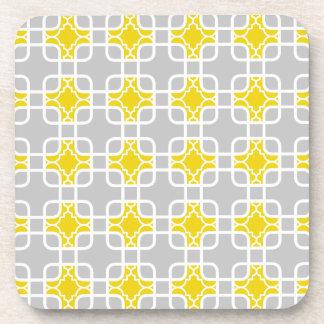 Motif géométrique jaune et gris moderne sous-bocks