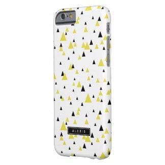 Motif géométrique jaune et noir personnalisé coque iPhone 6 barely there