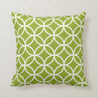Motif géométrique moderne vert pomme et blanc coussin décoratif