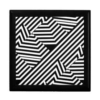 Motif géométrique noir et blanc à la mode de grande boîte à bijoux carrée