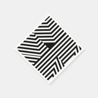 Motif géométrique noir et blanc à la mode de serviettes en papier