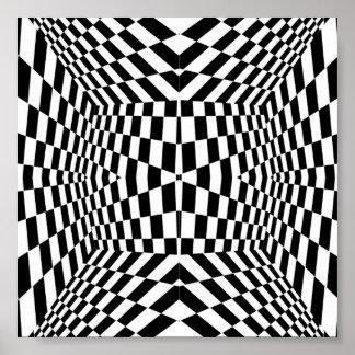 Motif géométrique noir et blanc posters