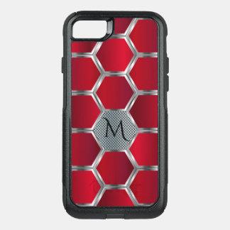 Motif géométrique rouge et argenté masculin coque OtterBox commuter iPhone 8/7