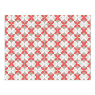 Motif géométrique rouge et blanc carte postale
