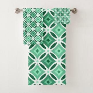 Motif géométrique vert et blanc