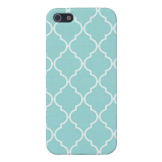 Motif Girly de Quatrefoil de turquoise Étuis iPhone 5