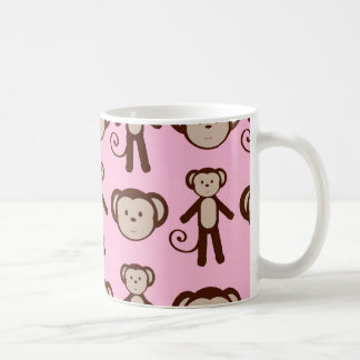 Motif Girly rose mignon de collage de singe Mug