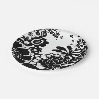 Motif noir blanc graphique assiettes motif noir blanc for Jardin noir et blanc