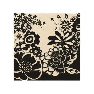 Motif graphique de jardin floral noir et blanc impression sur bois