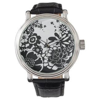 Motif graphique de jardin floral noir et blanc montre