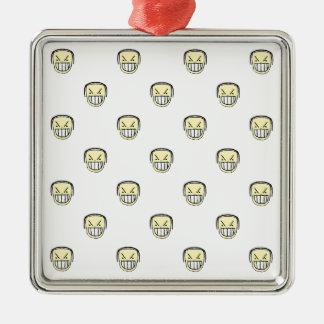 Motif graphique fâché d'Emoji Ornement Carré Argenté