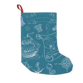 Motif graphique nautique de modèle petite chaussette de noël
