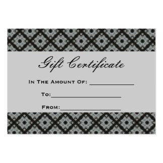 Motif gris de certificat-prime carte de visite grand format