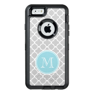 Motif gris de Quatrefoil, monogramme bleu Coque OtterBox iPhone 6/6s