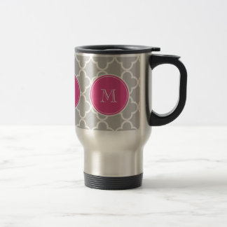 Motif gris de Quatrefoil, monogramme de roses Mug De Voyage