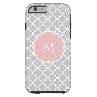 Motif gris de Quatrefoil, monogramme rose Coque Tough iPhone 6