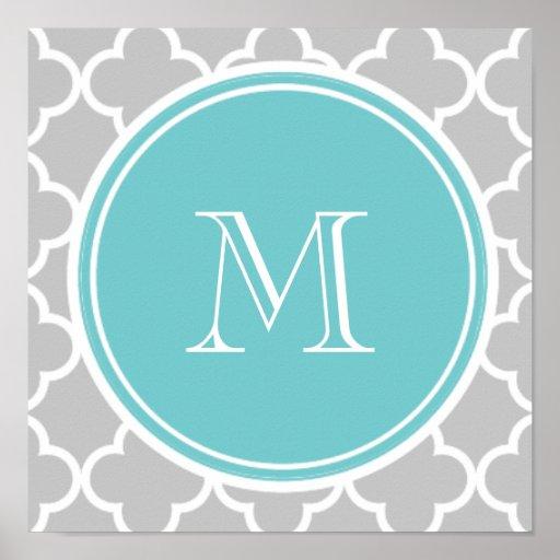 Motif gris de Quatrefoil, monogramme turquoise Posters