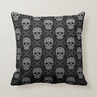 Motif gris et noir de crâne de sucre oreillers