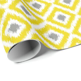 Motif gris jaune d'Ikat de diamant Papier Cadeau