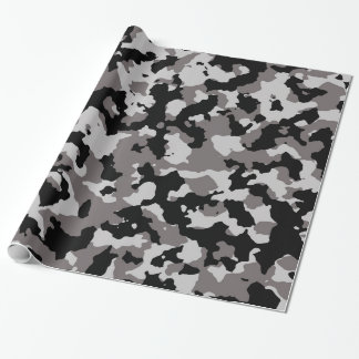 Motif gris militaire de camouflage papier cadeau