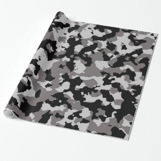 Motif gris militaire de camouflage papier cadeau noël