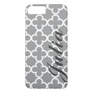 Motif gris nommé personnalisé de Quatrefoil Coque iPhone 7 Plus