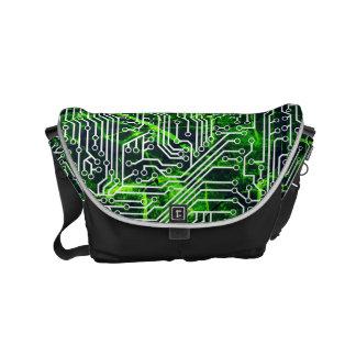 Motif grunge cybernétique de rue de vert urbain de sacoche