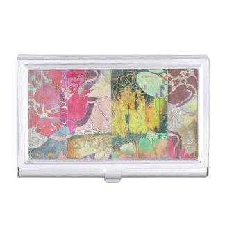 Motif grunge floral d'art étuis pour cartes de visite