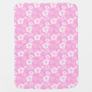 Motif hawaïen de Honu de ketmie rose Couvertures Pour Bébé