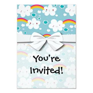 motif heureux de ciel d'arc-en-ciel et de nuage de carton d'invitation 8,89 cm x 12,70 cm
