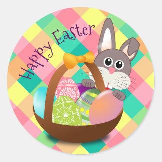 Motif heureux de damier de ressort de Pâques Sticker Rond