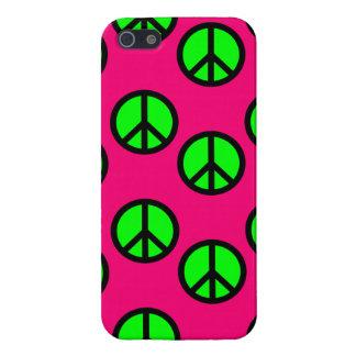 Motif hippie vert au néon de signe de paix de rose étui iPhone 5