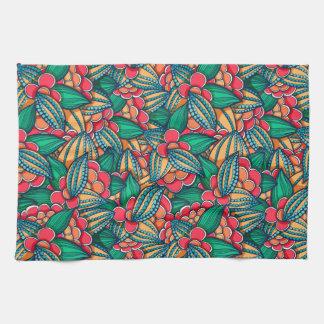 Motif illustré abstrait coloré de graines de cacao serviette pour les mains