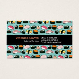 Motif illustré par amusement délicieux de sushi cartes de visite