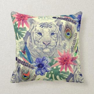 Motif indien vintage de tigre de style coussin décoratif