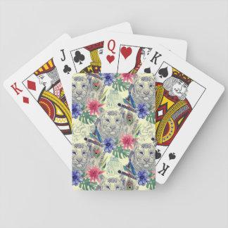 Motif indien vintage de tigre de style jeu de cartes