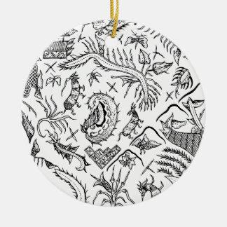 Motif indonésien de textile d'insectes et de ornement rond en céramique