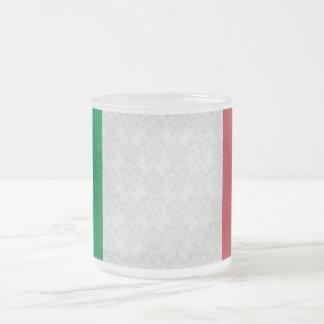 Motif italien de damassé de drapeau mug en verre givré